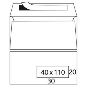 Enveloppes Turbomail blanc digitale 90g/m² 114 x 229 mm fenêtre à droite stripcol tarôt nid d'abeill
